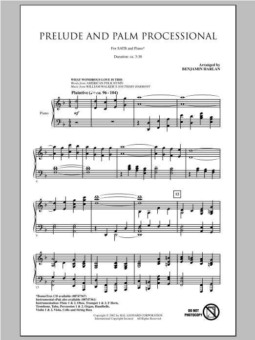 Partition chorale The Holy City de Benjamin Harlan - SATB