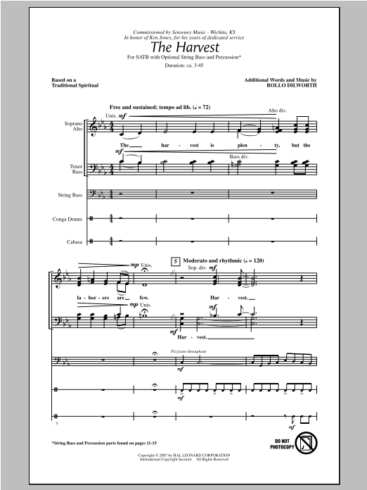 Partition chorale The Harvest de Rollo Dilworth - SATB