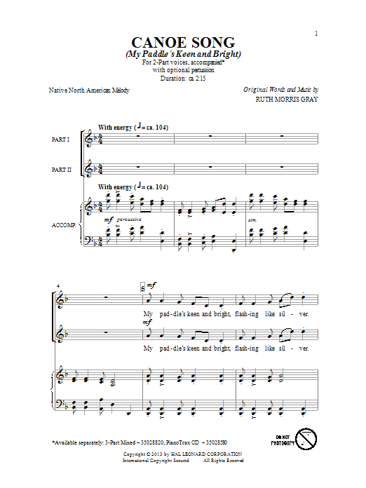 Partition chorale Canoe Song de Ruth Morris Gray - 2 voix