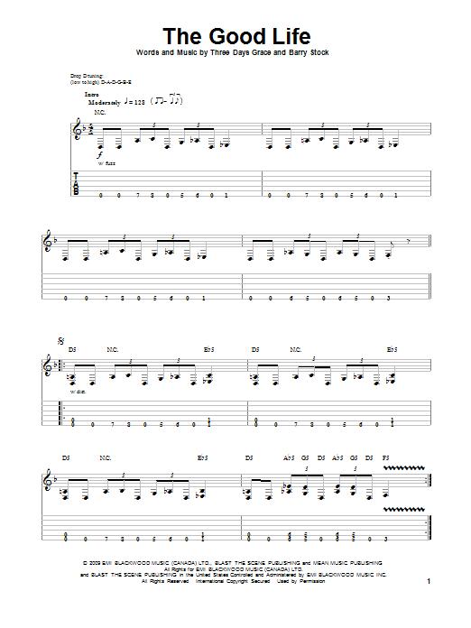 Tablature guitare The Good Life de Three Days Grace - Tablature Guitare