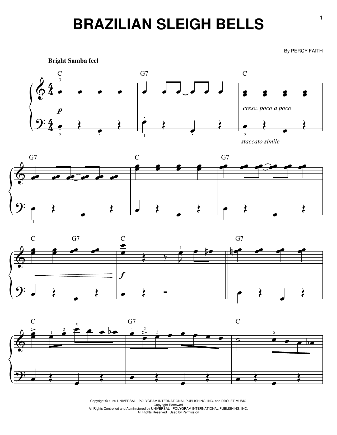 Partition piano Brazilian Sleigh Bells de Percy Faith - Piano Facile