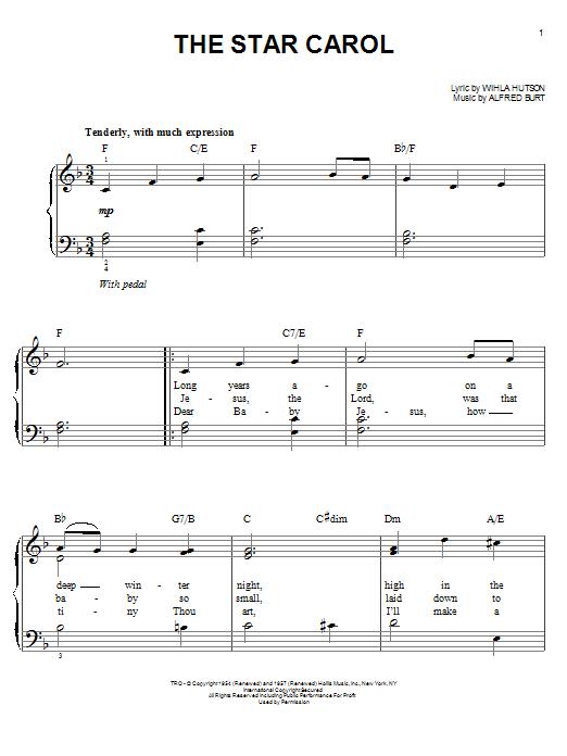 Partition piano The Star Carol de Wihla Hutson - Piano Facile