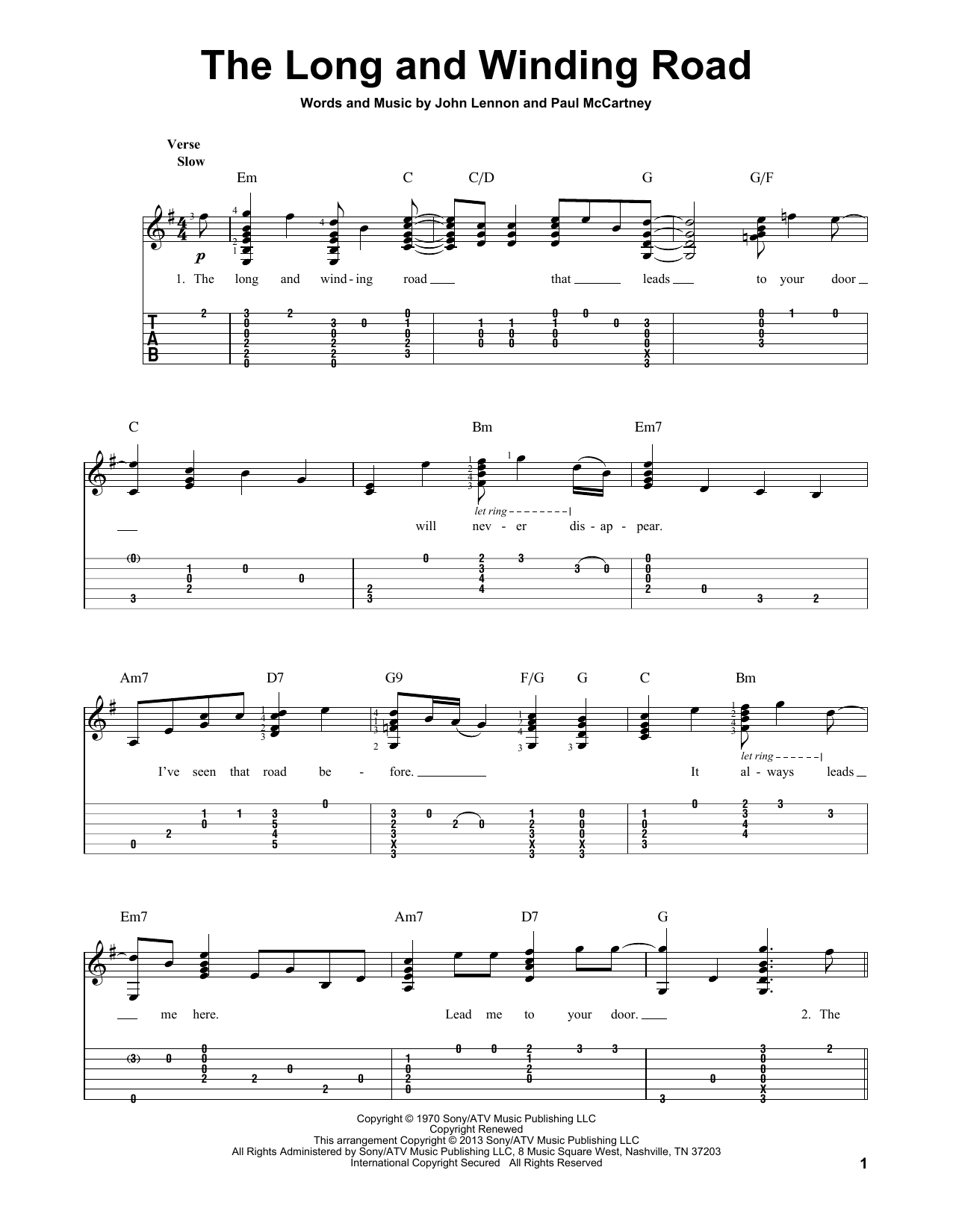 The Long And Winding Road sheet music for guitar solo by The Beatles