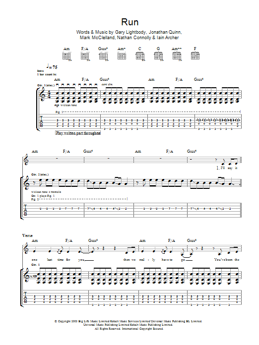 Run sheet music for guitar solo (tablature) by Nathan Connolly