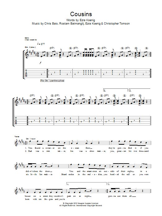 Guitar Instructor Cousins by Vampire Weekend - Guitar Tab