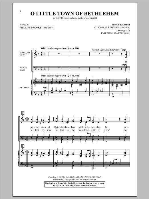 Partition chorale O Little Town Of Bethlehem de Joseph Martin - SATB
