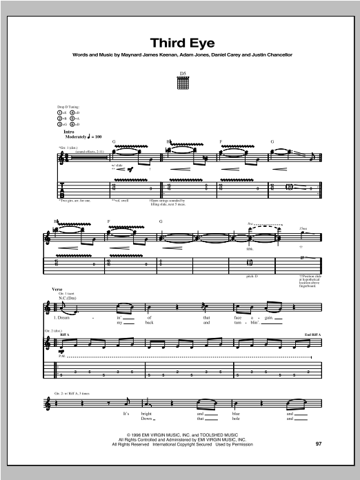 Tablature guitare Third Eye de Tool - Tablature Guitare