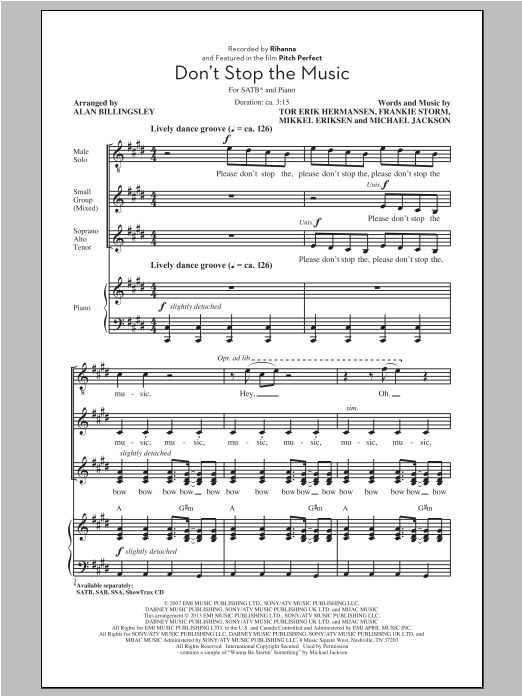 Partition chorale Don't Stop The Music de Rihanna - SATB