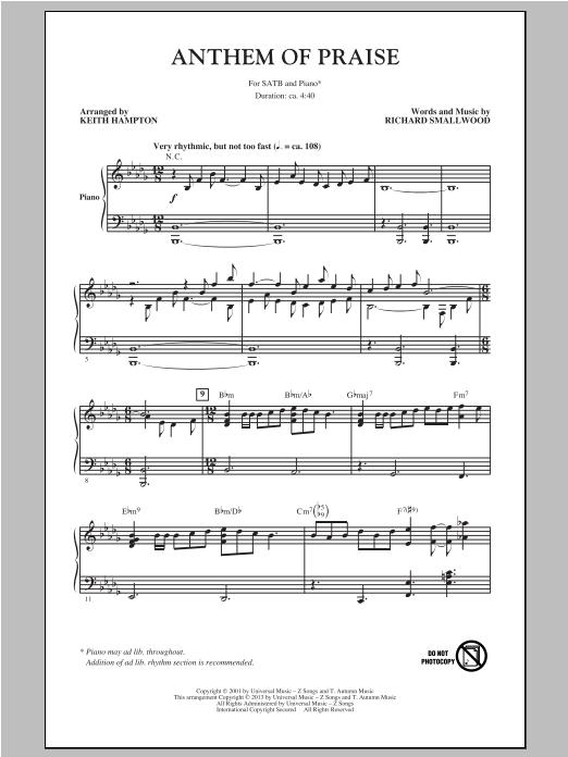 Partition chorale Anthem Of Praise de Keith Hampton - SATB