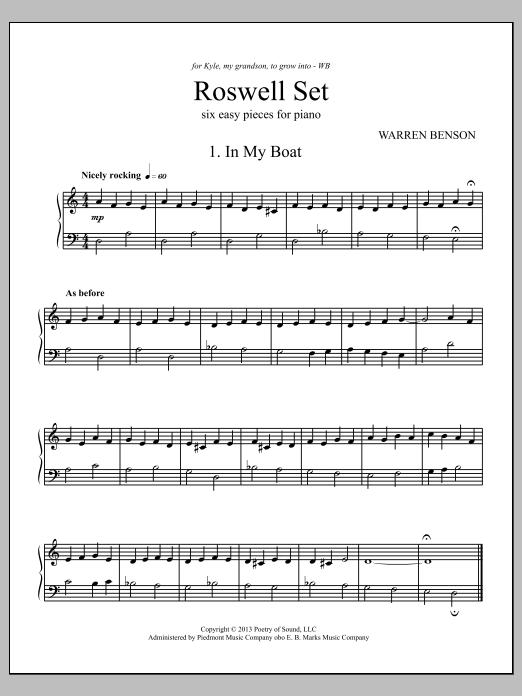 Partition piano Roswell Set de Warren Benson - Piano Solo