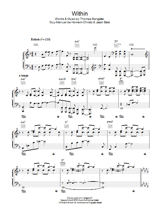Within sheet music for voice, piano or guitar by Thomas Bangalter