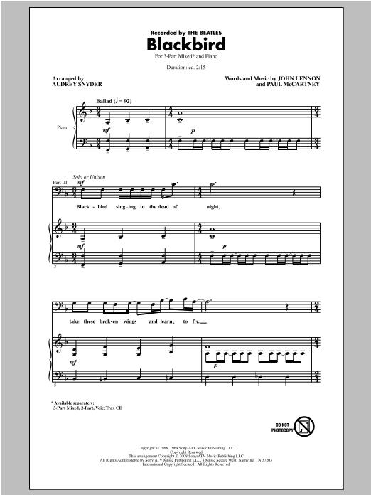 Partition chorale Blackbird de Wings - 3 voix mixtes