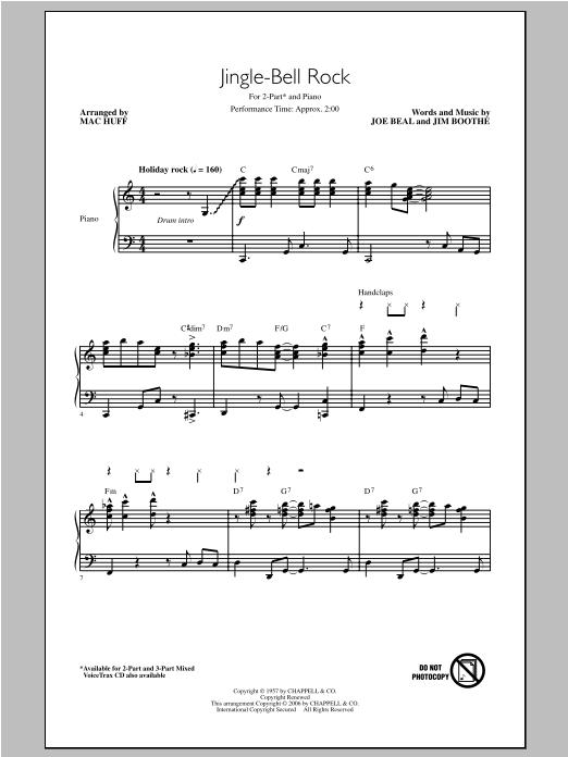 Partition chorale Jingle Bell Rock de Mac Huff - 2 voix