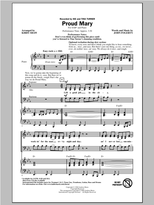 Proud Mary sheet music for choir and piano (SAB) by Kirby Shaw