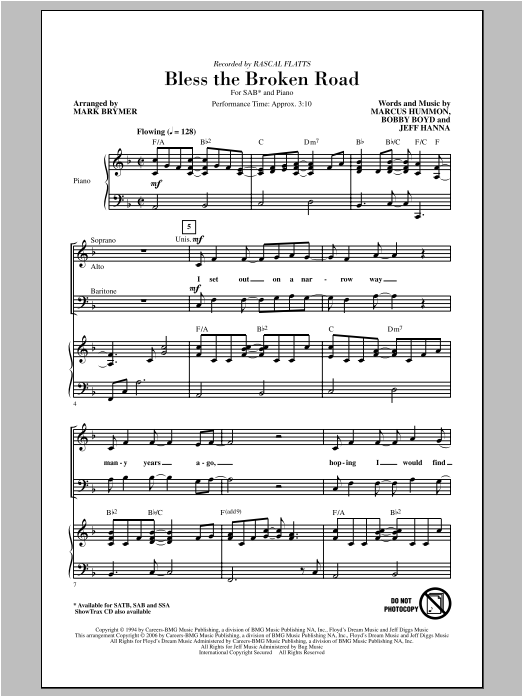 Bless The Broken Road sheet music for choir and piano (SAB) by Mark Brymer