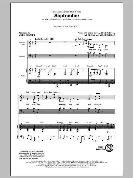 September sheet music for choir and piano (SAB) by Mark Brymer