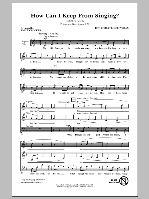 How Can I Keep From Singing sheet music for choir and piano (SAB) by Emily Crocker