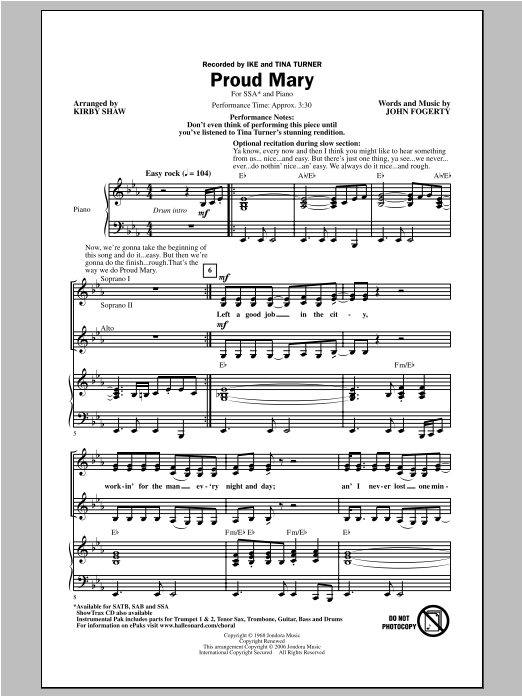Proud Mary sheet music for choir and piano (SSA) by Kirby Shaw