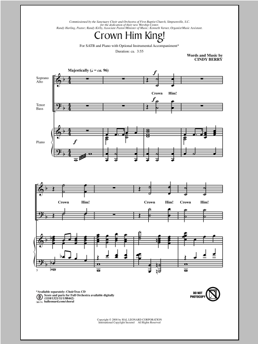 Partition chorale Crown Him King! de Cindy Berry - SATB