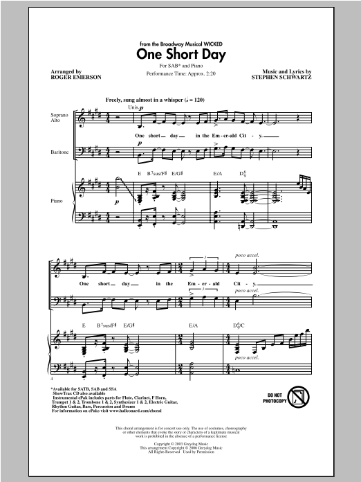 One Short Day sheet music for choir and piano (SAB) by Roger Emerson