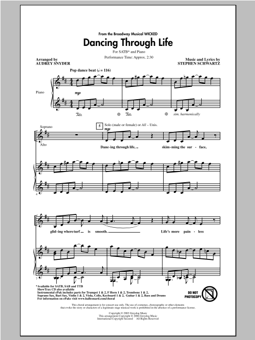 Dancing Through Life sheet music for choir and piano (SATB) by Audrey Snyder