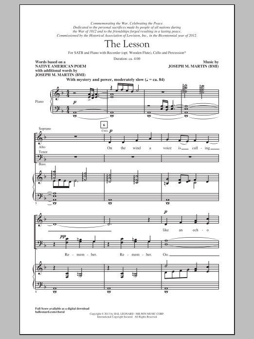 The Lesson sheet music for choir and piano (SATB) by Joseph M. Martin