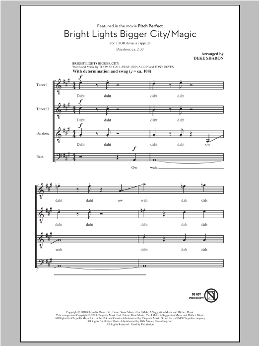 Partition chorale Bright Lights Bigger City/Magic de Deke Sharon - TTBB