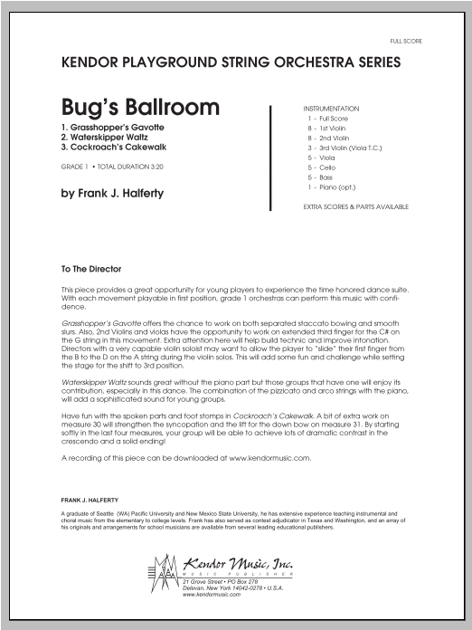 Bug's Ballroom (COMPLETE) sheet music for orchestra by Halferty