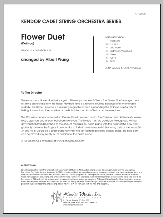 Flower Duet (Dui Hua) (COMPLETE) sheet music for orchestra by Wang