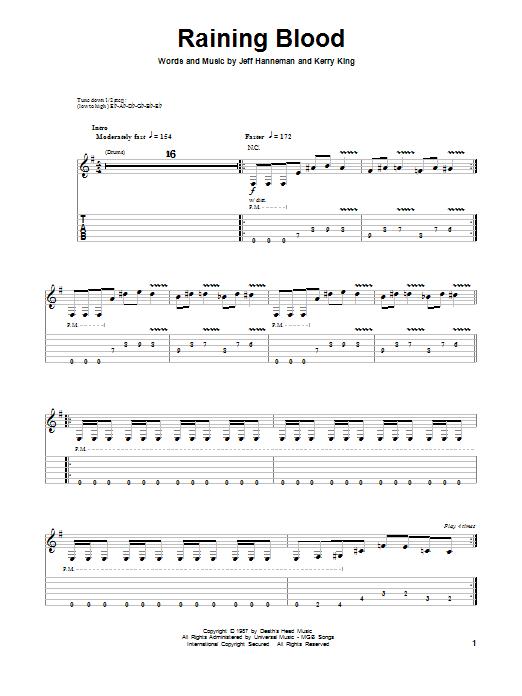 Tablature guitare Raining Blood de Slayer - Tablature Guitare