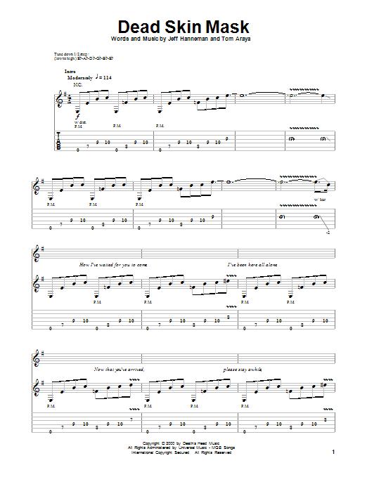 Tablature guitare Dead Skin Mask de Slayer - Tablature Guitare