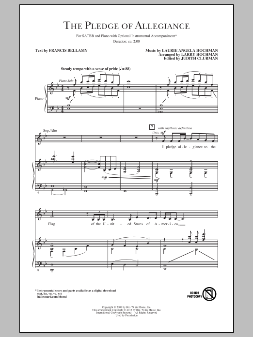 Partition chorale The Pledge Of Allegiance de Larry Hochman - SATB