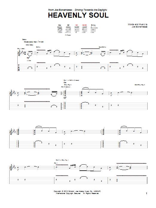 Tablature guitare Heavenly Soul de Joe Bonamassa - Tablature Guitare
