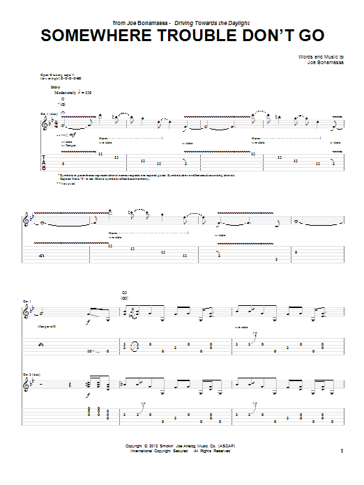 Tablature guitare Somewhere Trouble Don't Go de Joe Bonamassa - Tablature Guitare