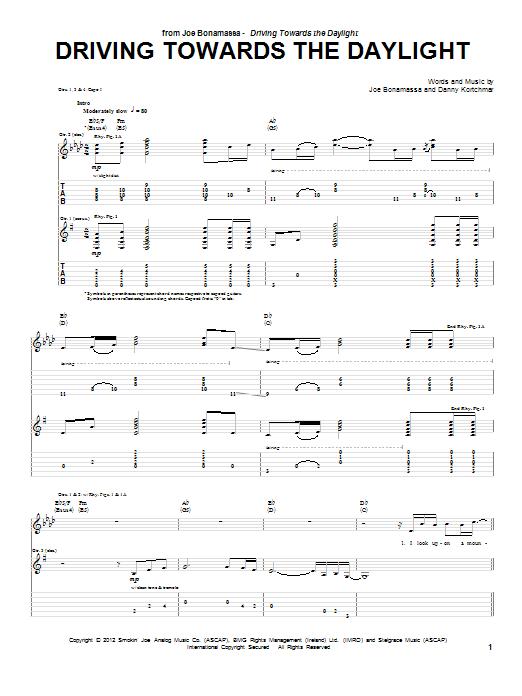 Tablature guitare Driving Towards The Daylight de Joe Bonamassa - Tablature Guitare
