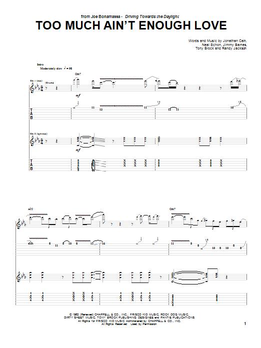 Tablature guitare Too Much Ain't Enough Love de Joe Bonamassa - Tablature Guitare