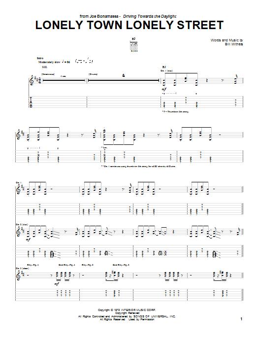 Tablature guitare Lonely Town Lonely Street de Joe Bonamassa - Tablature Guitare