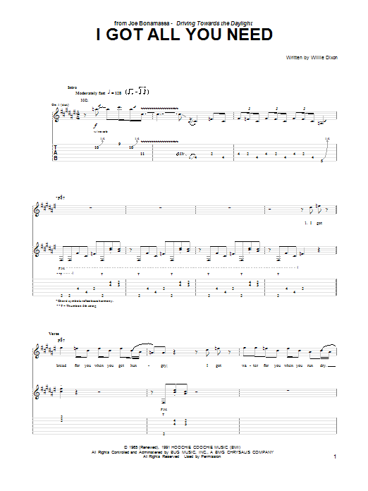 Tablature guitare I Got All You Need de Joe Bonamassa - Tablature Guitare