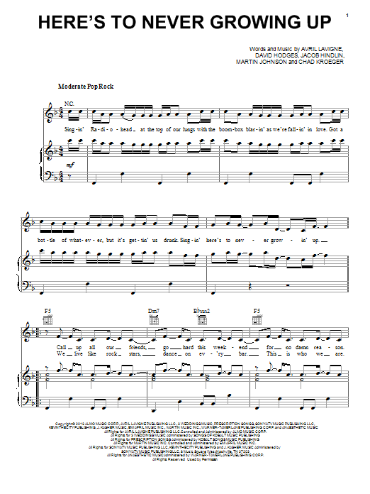 Here's To Never Growing Up | Sheet Music Direct