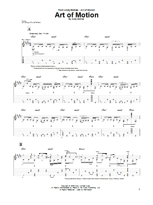 Tablature guitare Art Of Motion de Andy McKee - Tablature Guitare