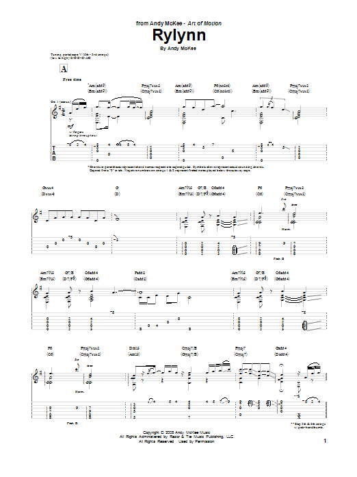 Tablature guitare Rylynn de Andy McKee - Tablature Guitare