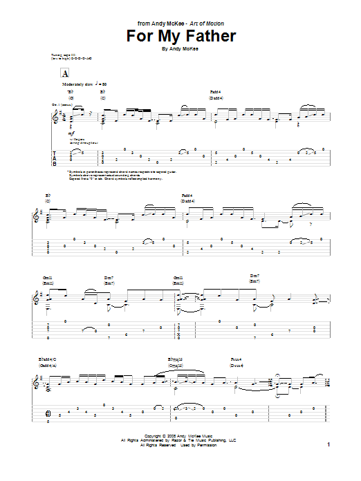 Tablature guitare For My Father de Andy McKee - Tablature Guitare