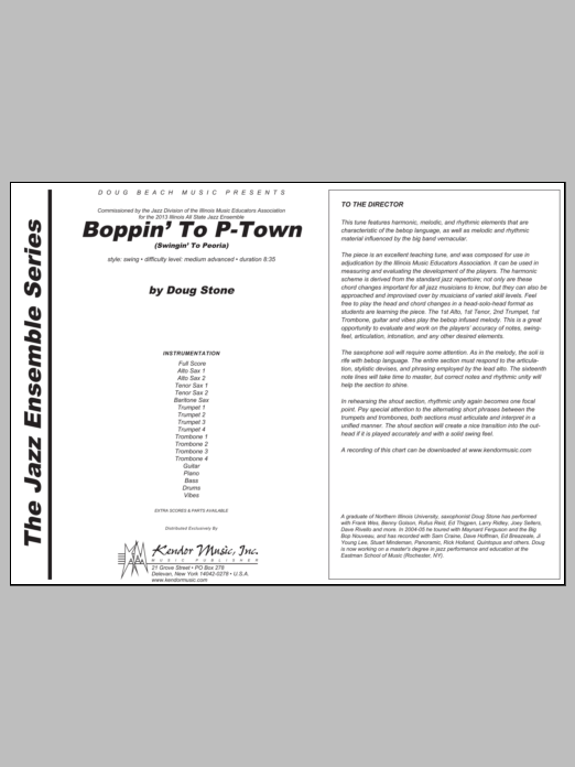 Boppin' To P-Town (Swingin' To Peoria) (COMPLETE) sheet music for jazz band by Stone