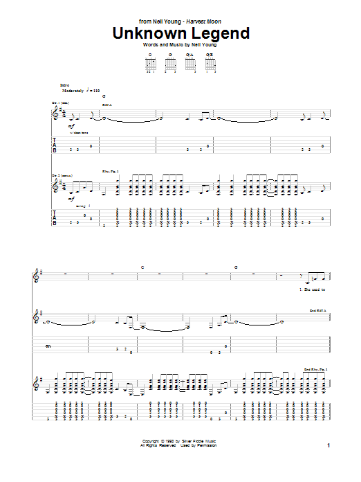 Unknown Legend by Neil Young - Guitar Tab - Guitar Instructor