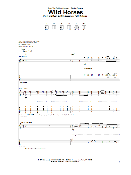 Tablature guitare Wild Horses de The Rolling Stones - Tablature Guitare