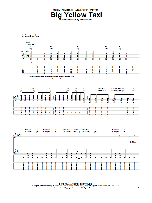 Tablature guitare Big Yellow Taxi de Joni Mitchell - Tablature Guitare