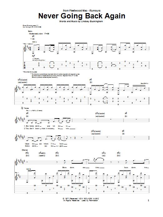 Tablature guitare Never Going Back Again de Fleetwood Mac - Tablature Guitare