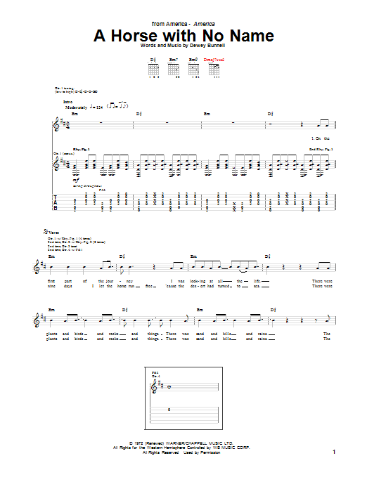 Tablature guitare A Horse With No Name de America - Tablature Guitare
