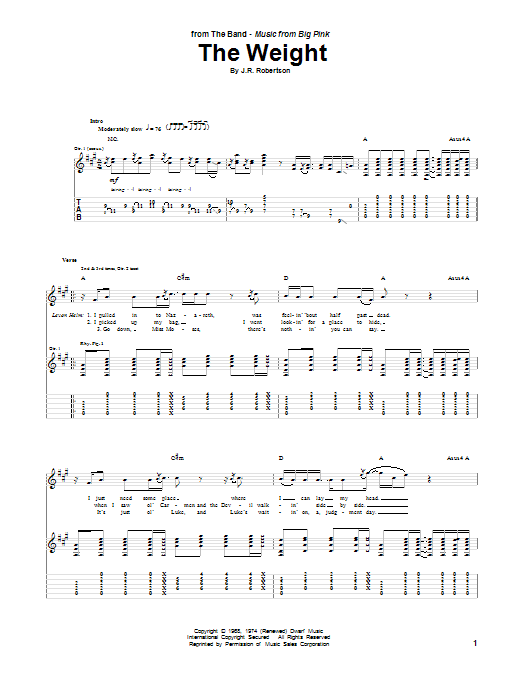 Tablature guitare The Weight de The Band - Tablature Guitare