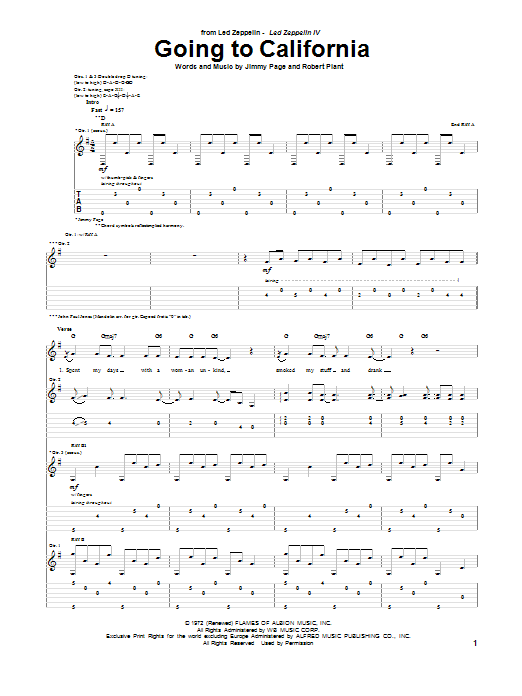 Tablature guitare Going To California de Led Zeppelin - Tablature Guitare